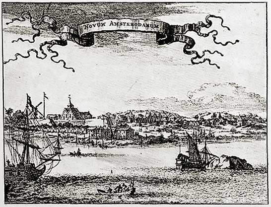 Montanus' view of New Amsterdam, 1645